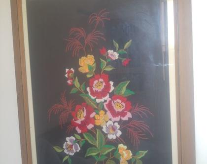 תמונת ריקמה פרחים