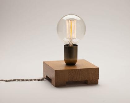 מנורת לילה מהממת מעץ אלון, מנורת פחם, נורת אדיסון, מנורה דקורטיבית, מנורת צדת נורת פחם,