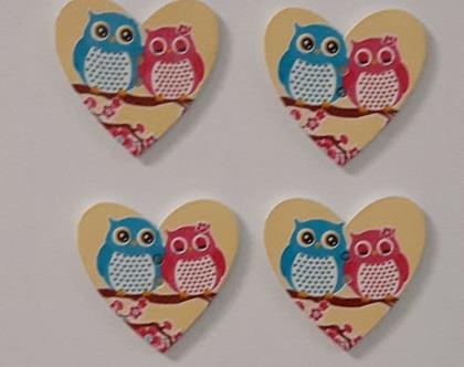 4 כפתורי עץ בצורת לב גדול עם הדפס ינשופים - 2