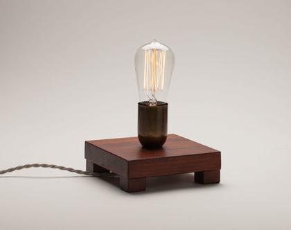 מנורת לילה מהממת מעץ אורן, מנורת פחם, נורת אדיסון, מנורה דקורטיבית, מנורת צדת נורת פחם,