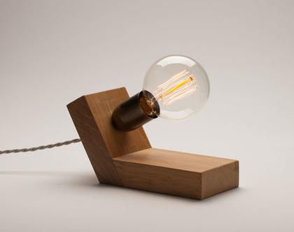 מנורת לילה מהממת מעץ אלון,מנורה שליש משושה, מנורת פחם, נורת אדיסון, מנורה דקורטיבית, מנורת צד, נורת פחם,