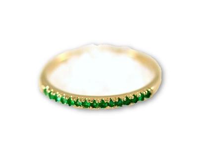 טבעת זהב 14 קרט משובצת אבני אמרלד
