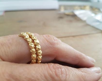 טבעת זהב, טבעת חרוזי זהב, טבעת נישואין, מתנה לאישה, תכשיטים לכלה, טבעת עדינה, טבעת מעוצבת, תכשיטים בעבודת יד, תכשיטי זהב