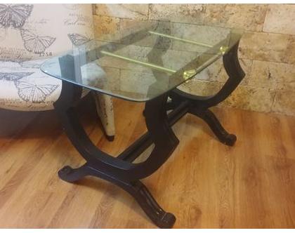 שולחן זכוכית וברגי מתכת, שולחן סלון, שולחן קפה, שולחן עץ, שולחן זכוכית ועץ, שולחן עץ וזכוכית, לעיצוב הבית, שולחן וינטג'