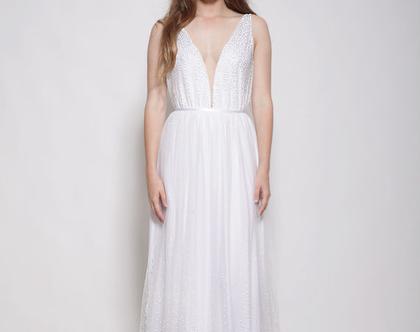 שמלת כלה בוהו שיק רומנטית עם נקודות