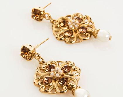 עגילי זהב תלויים, תכשיטים בסגנון ויקטוריאני, מתנה ליום נישואין, תכשיט מתנה לאישה, מתנה לחג
