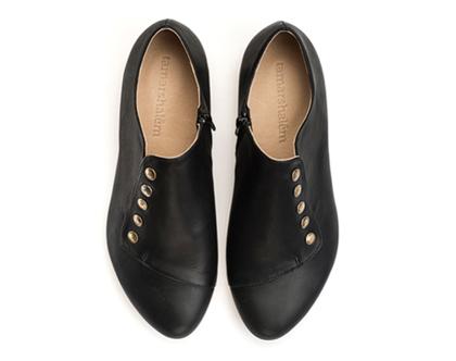 נעלי עור שטוחות - דגם גרייס שחורות