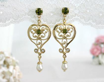 עגילי זהב ירוקים, עגילים בסגנון רומנטי, תכשיט מתנה לבת זוג