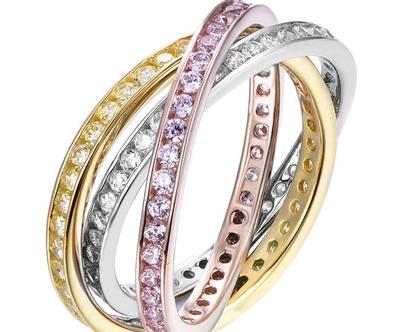 טבעת כסף שלושת הצבעים