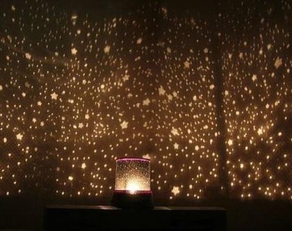 מנורת גלקסיה - מנורת LED המקרינה כוכבים וגלקסיה שלמה עם תאורה לבנה וקסומה