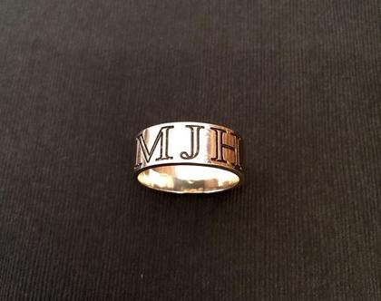 טבעת לגבר כסף - טבעת כסף לגבר טבעת חריטה לגבר - טבעות גברים - טבעות כסף שם - טבעת כסף רחבה