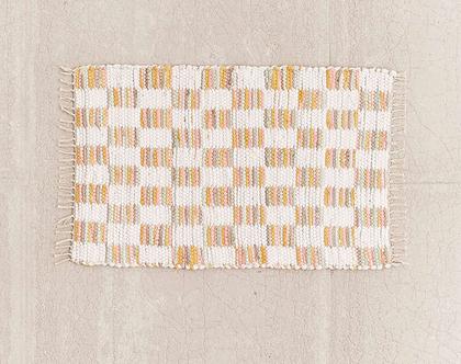 שטיחון כותנה משובץ בצבעים פסטלים