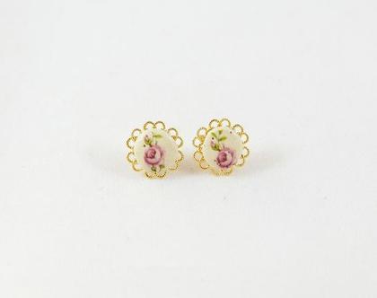 עגילי פרח צמודים עםצפרח קרמיקה, עגילים צמודים, עגילים מיוחדים, עגילי פרחים, עגילי פרח