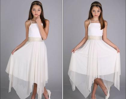 שמלת שירה שיפון לבת מצווה בעיצוב שירן סבוראי
