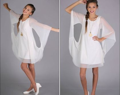 שמלת עטלף שיפון לבת מצווה של המעצבת שירן סבוראי