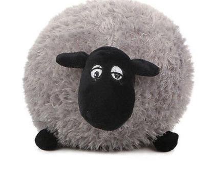 בובת פרווה כבשה אפורה בובה רכה חפץ מעבר מתנה לילד/ה קישוט לחדר ילדים