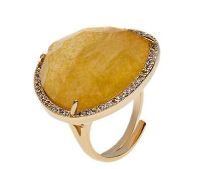 טבעת אבן טבעית משובצת