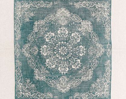 שטיח ירוק קטן בסגנון וינטאג׳, שטיח טורקיז וינטג׳