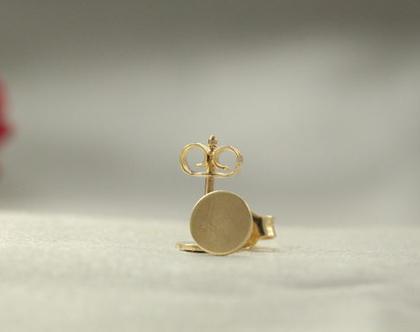 עגילי כפתור מזהב 14k | עגילי 14k מיוחדים | זהב 14k | עגילי נקודה | עגילים מעוצבים | עגילים קטנים | עגילים צמודים