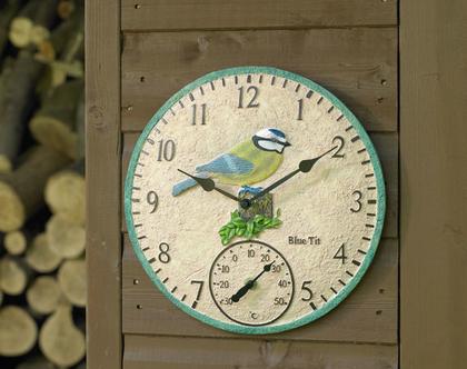 שעון קיר ומד טמפרטורה דגם ירגזי, לבית/מרפסת