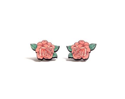 עגילי ורדים מאוירים/ עגילים מיוחדים/ עגילים צמודים