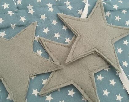 וילון לחדר ילדים - וילון כחול ג'ינס כוכבים עם לבבות / כוכבים מלבד