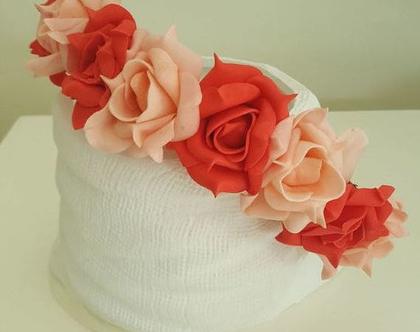 """זר לראש   משי   זר פרחים   עיטור ראש   כתר   חגיגה   יום הולדת   קישוט   ורדים   ורוד """" לבן   מלאכותי"""