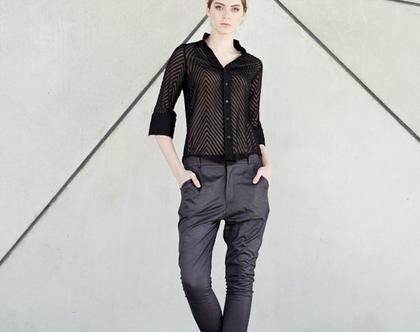 סריג אליס | סריג אפור כהה| סוודר מעוצב | סוודר לאישה |