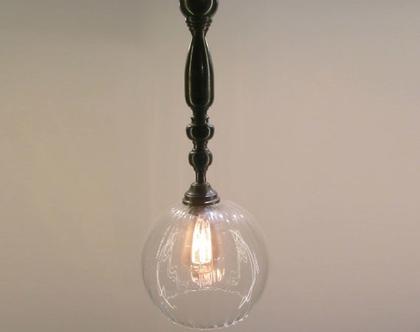 ( דור) מנורהתלויה, כדור זכוכית 25 קוטר, בניפוח פה, עם אלמנט מתכתי מרהיב