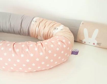 נחשוש | קולקציית ארנבים וכוכבים | נחשוש אפור ורוד וינטאג' | כרית נחש | מגן ראש למיטת תינוק | מתנה ליולדת | עבודת יד