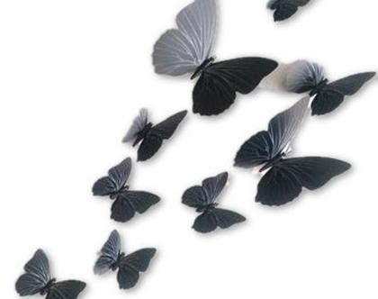 פרפרים תלת ממדיים מדבקת קיר / וילון פרפר מגנט - שחור