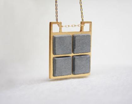 תליון מרובע זהב עם בטון | שרשרת מצופה זהב עם בטון | שרשרת מיוחדת