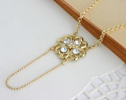 שרשרת זהב לכלה, שרשרת עם תליון קריסטל, תכשיט לכלה