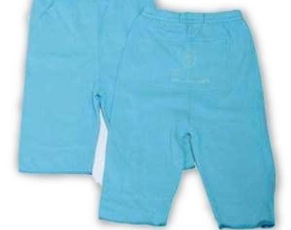 בגד אורגני- חליפת מכנסיים וחולצה דגם טלאי-כחול