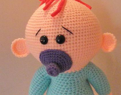 בובות סרוגות- תינוק עם מוצץ