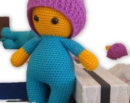 בובות סרוגות- תינוק חיבוקי עם כובע