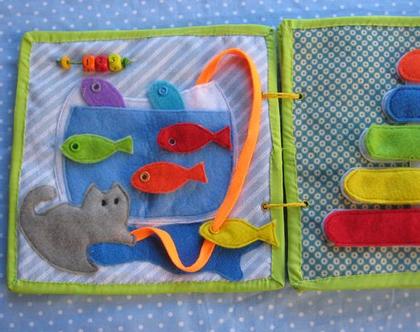 משחק מתוך ספר פעילות לגילאי 1.2-4 / פיתוח מוטוריקה עדינה / דגם חתול והדגים / גילאי 1.2-4