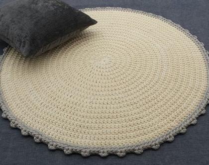 שטיח סרוג | שטיח עבודת יד | שטיח עגול | שטיחים סרוגים