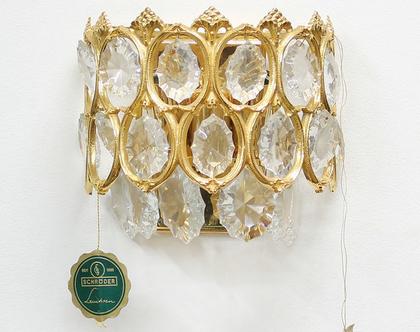 מנורת קיר וינטאג׳ קריסטלית מצופה זהב 24 קראט