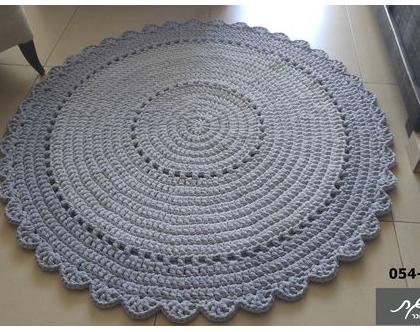 שטיח סרוג, קוטר 1.20 מ'/שטיח סרוג/שטיחים סרוגים/שטיח סרוג בחוטי טריקו/שטיח עגול