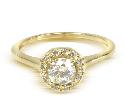 טבעת היילו | טבעת אירוסין | טבעת יהלומים | טבעת משובצת יהלומים | טבעת HALO | זהב 14 קאראט| 14K-