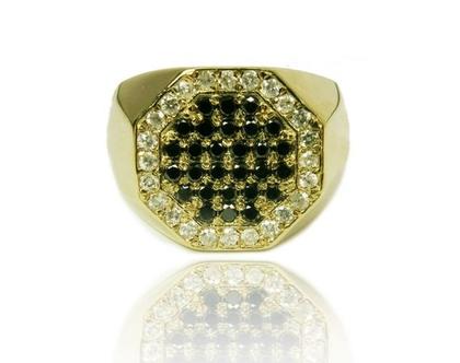 טבעת זהב 14K לגבר משובצת יהלומים שחורים ולבנים 0.85CT