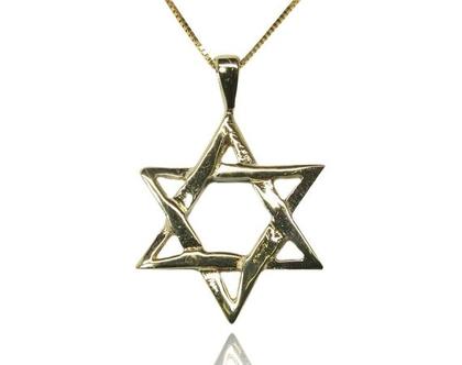 שרשרת ותליון זהב מגן דוד מעוצב ב 14 קראט