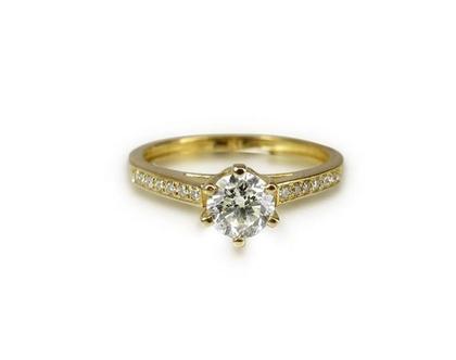 טבעת זהב 14K משובצת יהלומים 0.38 CT | טבעת אירוסין | טבעת יהלומים קלאסית עם שיבוצים בצד