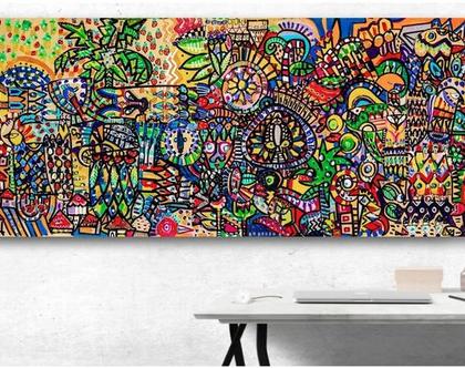 הדפס בתוספת נגיעות צבע על בד קנבס מרהיב לסלון, ציור מקורי זמין לרכישה .