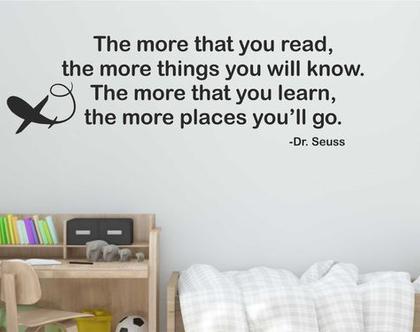 מדבקת קיר לחדר The more that you read  מדבקות קיר לבית   מדבקת קיר לעיצוב הבית   מדבקות קיר לחלל הבית   מדב