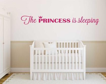 The PRINCESS is sleeping   מדבקות קיר לבית   מדבקת קיר לעיצוב הבית  מדבקות קיר לחלל הבית   מדבקת קיר לחדר ילדים   מדבקת קיר לחדר נוער
