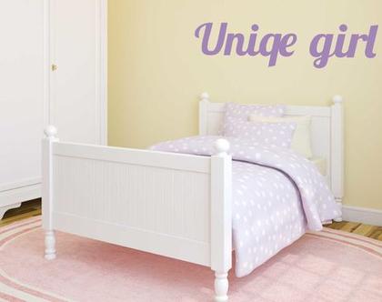 מדבקת קיר Unique girl   מדבקת קיר לחדר ילדים   מדבקות מעוצבות לבית   אותיות דביקות