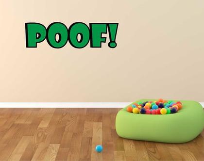 מדבקת קיר POOF קומיקס   מדבקת קיר לחדר ילדים   מדבקות מעוצבות לבית   אותיות דביקות