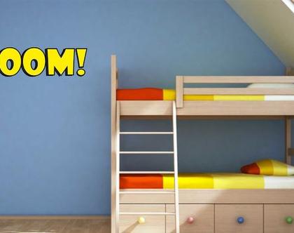 מדבקת קיר !BOOM קומיקס   מדבקת קיר לחדר ילדים   מדבקות מעוצבות לבית   אותיות דביקות